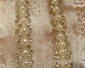 pearl beaded Trim, rhinestone beaded trim, bridal sash trim, jewelry trim, pearl beading trim, luxury trim