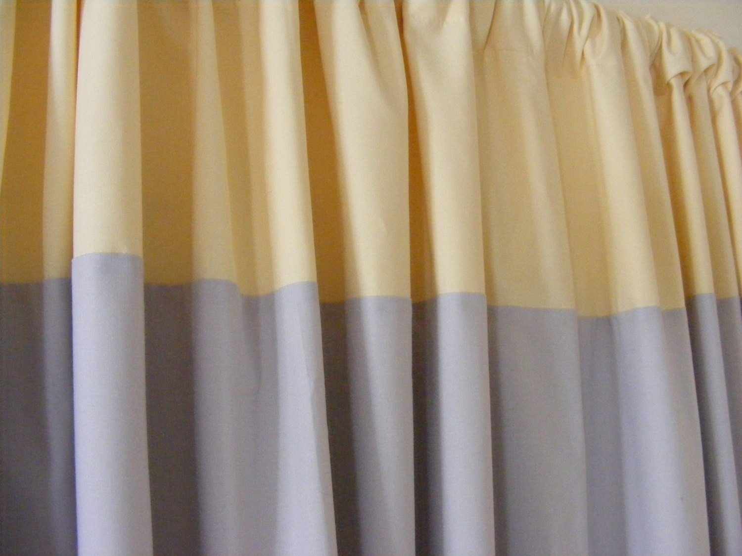 Drapery Window Curtain Panels Grey And Pale Yellow Fully Lined