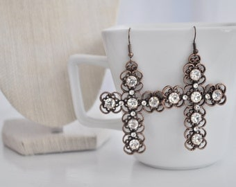 Cross Rhinestone Earrings, Brown Cross Earrings, Statement Earrings Large Easter Boho Country Wedding Rustic