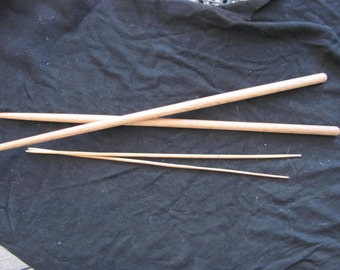 2 Sets Of Vintage Wooden Knitting Needles