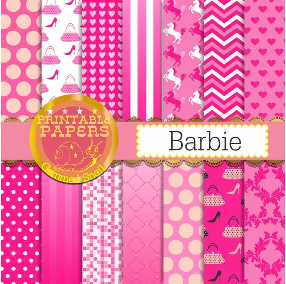 Hot Pink Digital Paper Barbie Digital Paper In Hot Pink