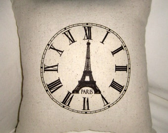 Time in Paris Pillow, French Shabby Chic Cushion, Neutral Affordable Home Decor, Burlap, Cotton, Country Farmhouse