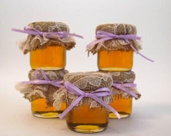 Mini 2 oz. mason jar, burlap, Rustic, Lace, purple barn wedding, Honey Favor, Honey Bee, Honey Favor, Bridal Shower, Meant to Bee, Wedding