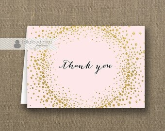 Blush Pink & Gold Glitter Thank You Card Baby Pink Black Script INSTANT DOWNLOAD Folded Note Notecard Blank Inside Digital or Printed - Remy