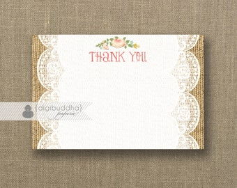 Lace Burlap Thank You Card INSTANT DOWNLOAD 4x6 Flat White Lace Pink Rose Blooms Shabby Chic Rustic Bridal Shower DIY Printable - Ainsley