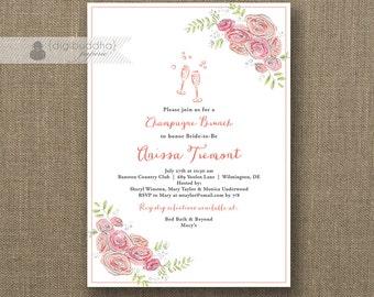 Champagne Brunch Invitation Bridal Shower Modern Pink Bloom Flower Glasses Fizz Wedding Hens Party Lingerie DIY Printable or Printed- Anissa