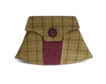1940's Vintage Inspired Clutch Bag Mustard and Plum Herringbone Wool Tweed and Plum Harris Tweed Purse with Vintage Buttons