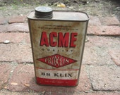 Vintage Tin Can ACME Proxlin 88 Klix Advertising Can Metal Container General Store Industrial Can Kitchen Item Red White 1950s Era