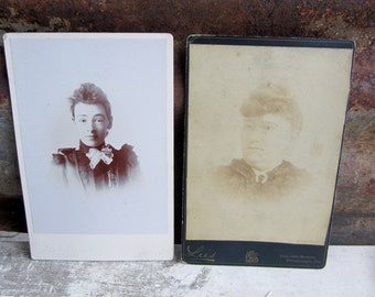 Collection of 2 Antique Photographs Victorian Women Ladies Large Cabinet Cards Pictures Black White Antique Pictures