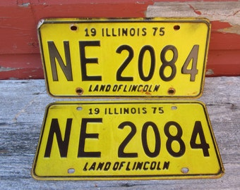 Matched Set Vintage Metal License Plates 1975 Black & Yellow Old Car Restoration 1970s 70s Era Hot Rod Rat Rod Muscle Car Illinois Rusted