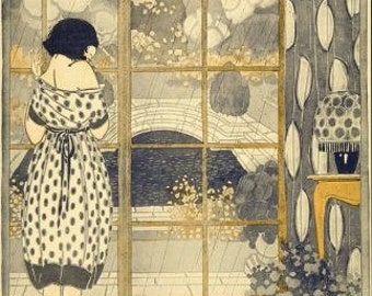 Art Nouveau Gift Art Deco Home Decor Print of Girl Gazing out Window by Anichini---in Several Sizes