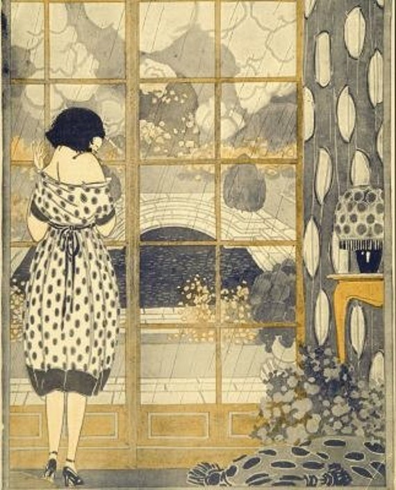 Art Nouveau Gift Art Deco Home Decor Print Of Girl Gazing Out Window