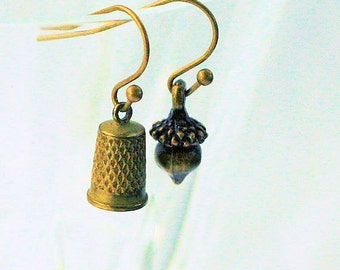 Peter Pan Thimble and Acorn Kisses Earrings  - Peter Pan and Wendy in Brass and Bronze Tone
