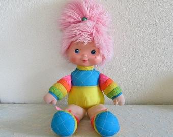 Baby Brite Doll Vintage Rainbow Brite Cloth Plush Doll with Pink Yarn Hair