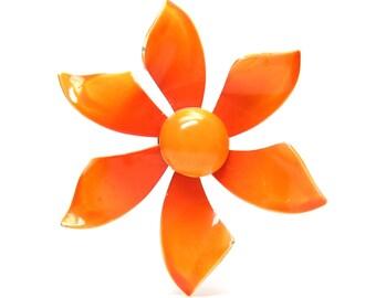 Orange Flower Brooch Vintage Metal Enameled Retro Daisy Pin