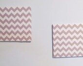 Set of 2 Gray and White Chevron Fabric Covered Corkboards