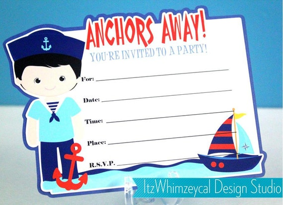 Boy Nautical Fill In The Blank Birthday Invitation by – Blank Birthday Invitations