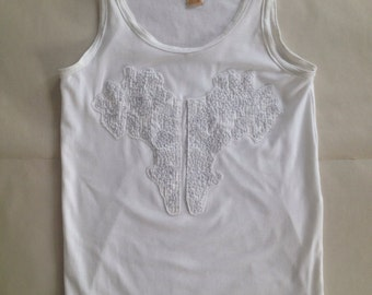 Small White Mens Tank Top with Up-cycled Appliqués