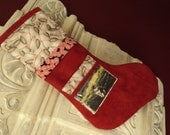 Picture pocket personalized stocking, Photo Stocking  photo album stocking  Has a pocket for a note to Santa and a picture pocket