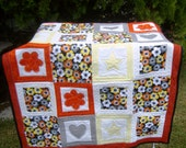Applique Quilt with Hearts, Flowers and Stars in Yellow, Grey and Orange with black binding 38 in. W x 47 in.L wall hanging OOAK