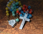 Multicolor Vintage rosary, 1930s, Collectible Catholic rosary, Made in France, Lady of Mount Carmel, Sacred Heart