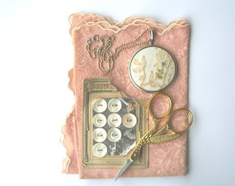 Cream vintage lace pendant with silver chain / antique handkerchief / fresh summer accessory / feminine necklace