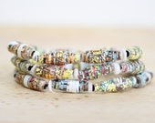 Wheres Waldo Recycled Paper Bead Bracelet set, Made From Recycled Book Pages, Librarian Gift, Rainbow Bracelet, Geometric Bracelet Set