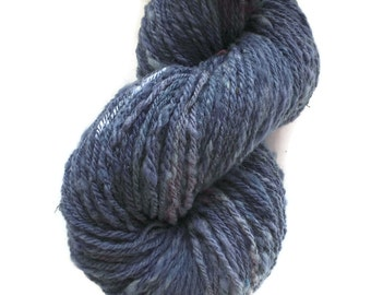 "Handspun Hand Dyed  3-Ply Merino Wool Art-Yarn. Denim Blue  ""My Old Jeans"""