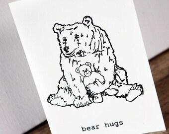 Bear hugs card - Gocco screenprinted