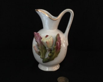 Small Vintage Pitcher Vase with Porcelain Flower Decoration