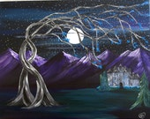 castle painting 11x14, fantasy art, fine art, full moon, tree art, fantasy painting, purple
