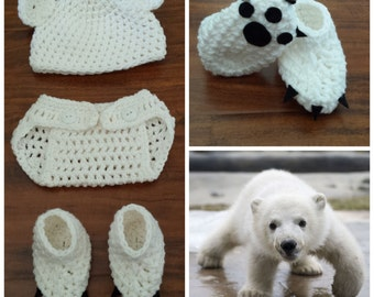 Crochet Polar Bear Outfit (beanie, diaper cover and booties)
