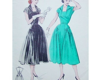 1950s Style Revere Collar Dress with Full Gathered Side Skirt Flounces Custom Made In Your Size From a Vintage Pattern