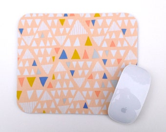 Mouse Pad / Modern Triangle / Home Office Decor / Peach White Blue Mousepad