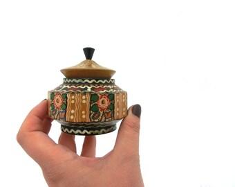 Vintage Jewelry Box, Wooden box, Trinket box, Small box, Treasury box, Tiny little box, storage box, Folk Art case, Folk box, 70s