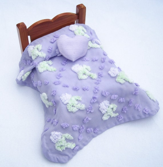 On Sale - Miniature Dollhouse Lavender Chenille Bedspread for Dollhouse Bedding