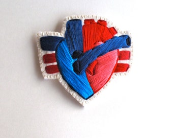 Anatomical heart brooch hand embroidered with reds and blue on cream muslin with cream felt backing Valentines day  MADE TO ORDER