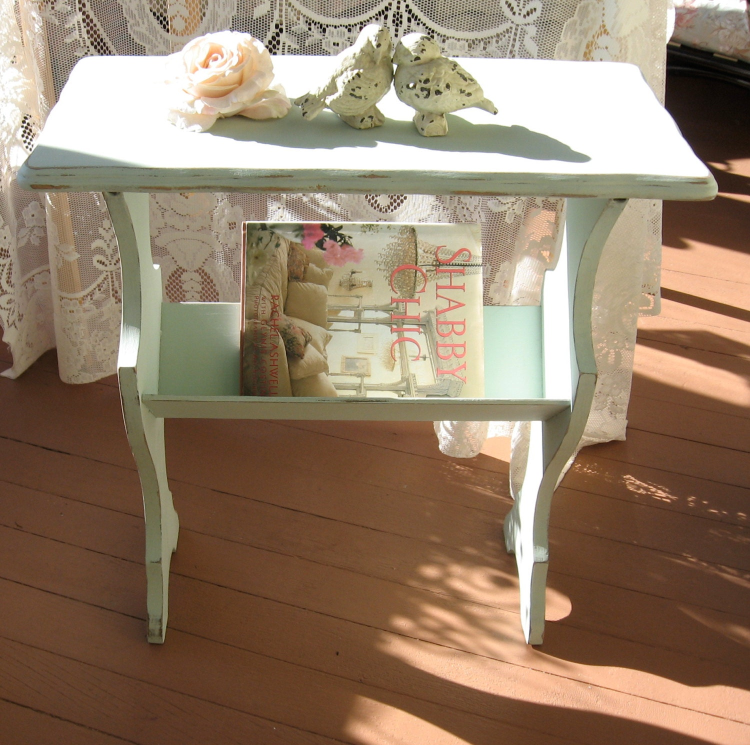Shabby Chic Aqua Blue Table Magazine Rack Cottage Chic