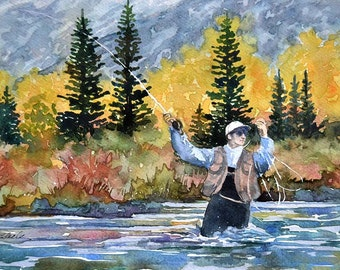 Watercolor Original, Fishing, Autumn, Cutthroat Weather, trout,  gift, Painting, Landscape, Fly Fishing, watercolour