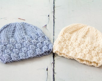 SALE - Newborn Baby Check Beanie Hat,  UK Seller, Newborn Photo Prop - Ready to Ship