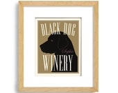 Black Lab Wine Gift Personalized Bar Art Black Labrador Vineyard Art Wine Dog Art Wine Gift Wine Connoisseur