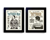 Tattoo Art Tattoo Parlor Sideshow Art Circus Poster Ink Carnival Man and Woman