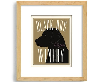 Black Lab Wine Gift Personalized Bar Art Black Labrador Vineyard Art Wine Dog Art Wine Gift Wine Connoisseur