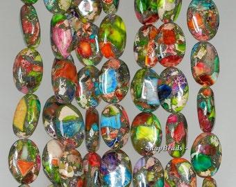 14x10mm Rainbow Imperial Jasper Gemstone Grade AA Oval 14x10mm Loose Beads 15.5 inch Full Strand (90188786-80)