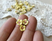 8 mm Yellow Color Tiny Flat Back Porcelain Apple Blossom Flowers (.mi)