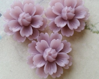 26 mm Lilac Colour Chrysanthemum Resin Flower Cabochons (C)(.ga).(ZZB)