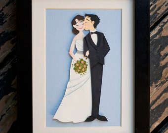 Custom Wedding Papercut Illustration Portrait