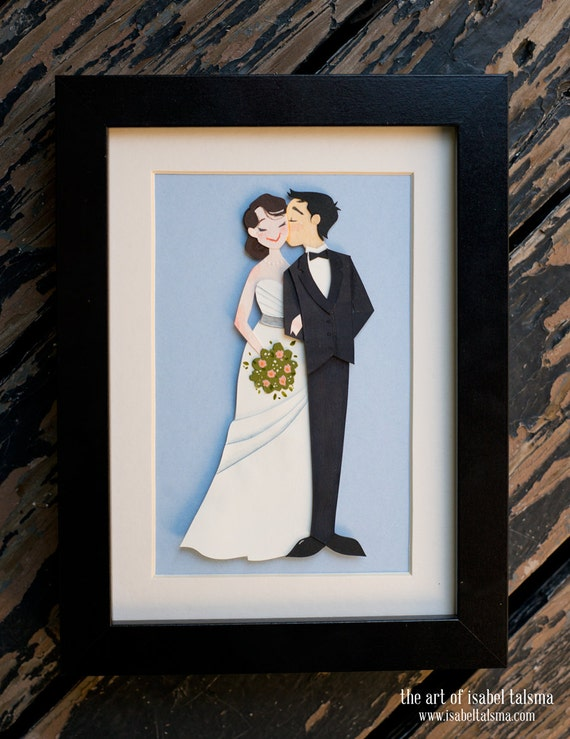 Custom Wedding Papercut Illustration Portrait