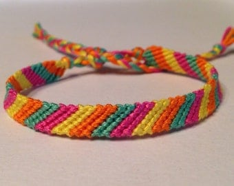 Sherbet Friendship Bracelet - Lemon, Lime, Pink & Orange