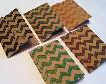 Mini Gift Cards - Green, Red, Blue, Purple & Black Chevron - Set of 5
